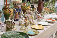 Vintage Ceramic Figurines Of People, Outdoors