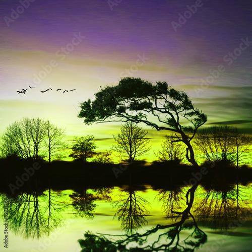 Foto op Aluminium Aubergine Beautiful landscape