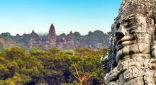 Monument Bayon Temple, Angkor,...