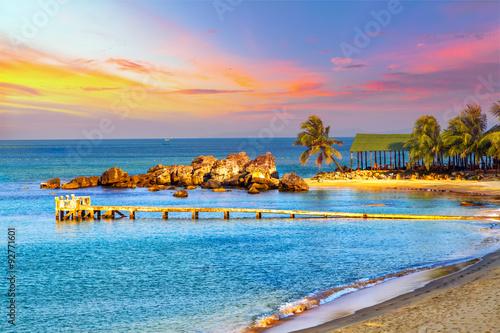 Fotografia Sunrise Tropical landscape sea