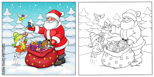 Coloring book. Santa Claus, rabbit and birds with gifts.
