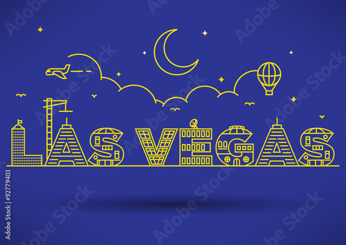 Las Vegas City Typography Design with Building Letters. Poster