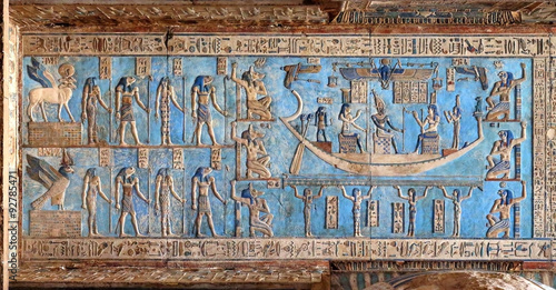 Egypt Hieroglyphic carvings in ancient egyptian temple