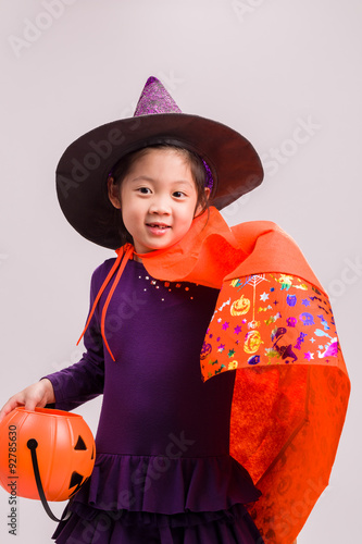 Photo Stands Fairies and elves Kid in Witch Costume on White / Kid in Witch Costume / Kid in Witch Costume, Studio Shot