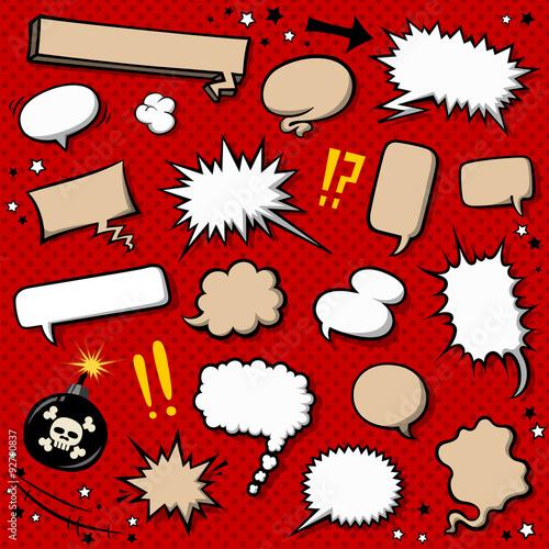 コミック吹き出し素材セット - 92790837