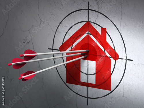 Business concept: arrows in Home target on wall background Wallpaper Mural