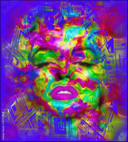 Fotografie, Obraz  Pop Culture is one of our unique, colorful abstract digital art images of a classic blonde bombshell in the likes of a Marilyn pop art style