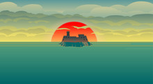 Castle On The Island In The Last Rays Of The Setting Red Sun. Illustration Of The Castle In The Ocean With Big Red Sun And Dark Clouds In The Sky. Empty Space Leaves Room For Design Elements Or Text.