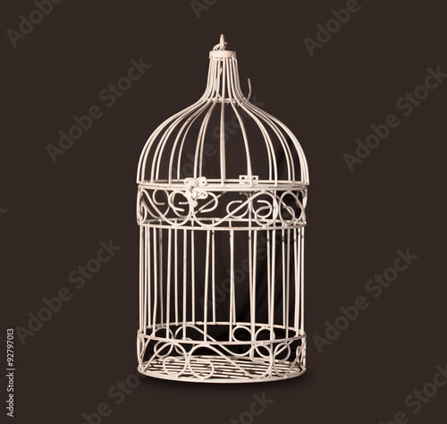 Shabby chic bird cage isolated on black background Canvas Print