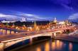 Night aerial panorama to Bolshoy Moskvoretsky Bridge, Vasilevsky Descent, towers of Moscow Kremlin, Saint Basil Cathedral and Moskva river