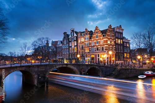 Beautiful view on the Brouwersgracht in Amsterdam, the Netherlands, with a passi Canvas Print