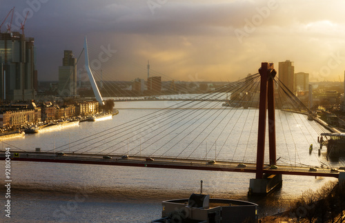 Canvas Prints Swan Beautiful sunset view on the bridges over the river Maas (Meuse) in Rotterdam, The Netherlands