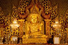 Golden Statue Of Buddha In Mrauk U Archaeological Zone, Myanmar