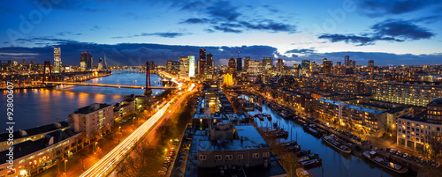 Spoed Fotobehang Rotterdam Beautiful aerial view of the skyline of Rotterdam, the Netherlands, at twilight