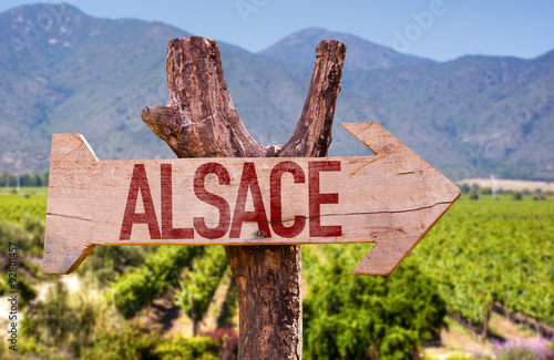Alsace wooden sign with winery background Wallpaper Mural