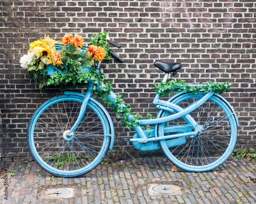 Aluminium Prints Bicycle Blue Bike with Flowers