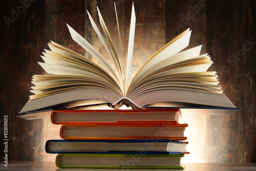 Composition with hardcover books Poster