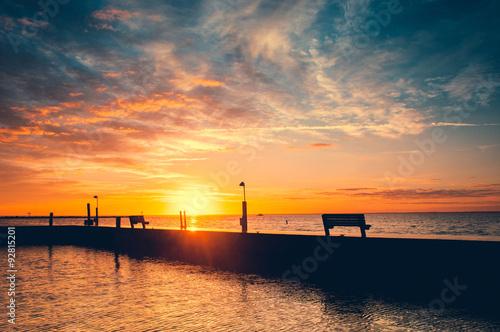 Dramatic Sunrise Sayville Docks And Marina Long Island New York