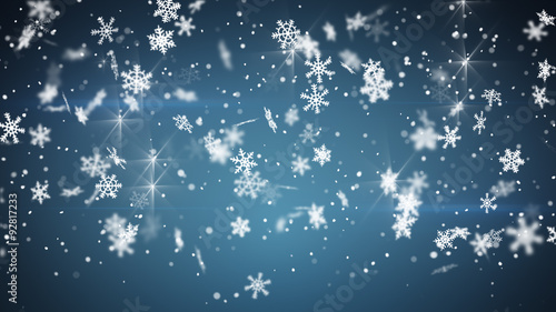 christmas snowfall on blue background Fototapeta