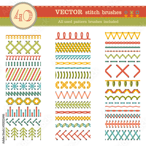 Cuadros en Lienzo Vector set of seamless stitch brushes.
