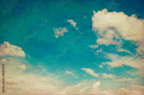 Poster Retro blue sky and clouds background texture vintage with space