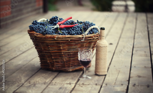 Basket with grapes Fotobehang