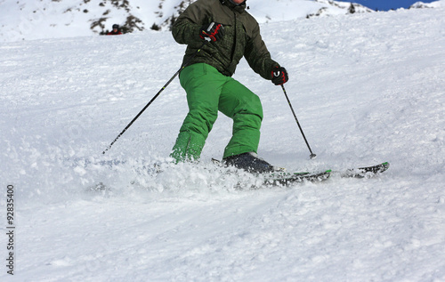 Fotografie, Obraz  Skifahrer mit grüner Hose