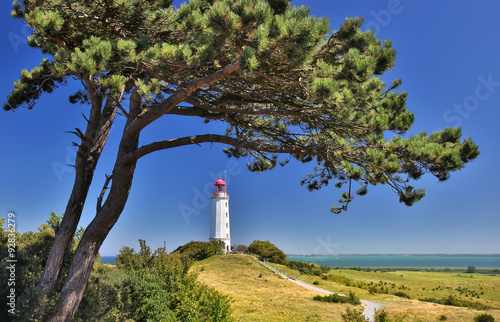 Foto op Plexiglas Vuurtoren Lighthouse near Kloster (Island Hiddensee - Germany) - HDR image