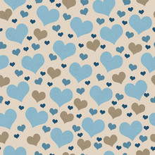 Blue And Brown Hearts Tile Pattern Repeat Background