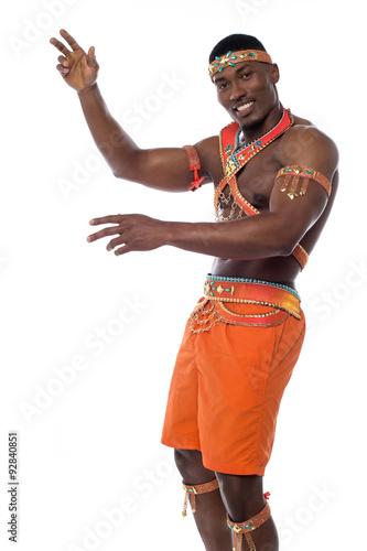 Montage in der Fensternische Karneval Male samba dancer isolated on white