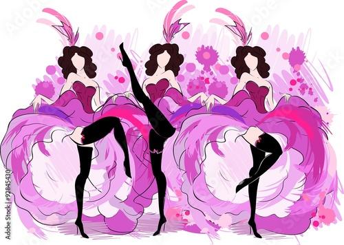 Fotografie, Obraz  Cancan dancers sketch