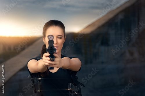 Powerful Woman Aiming Gun Action Movie Style плакат