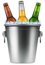 Beer Bottles In An Ice Bucket,...