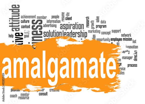 Amalgamate word cloud with orange banner Canvas Print