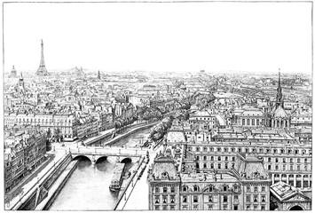 FototapetaPanorama of the Seine near Notre Dame, vintage engraving.