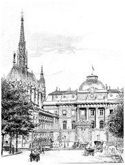 The Sainte-Chapelle and the entrance to the courthouse, vintage