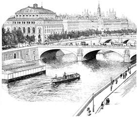 FototapetaThe Seine for the Quai de l'Horloge, vintage engraving.
