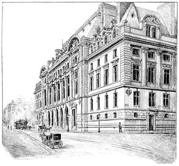 Facade of the new Sorbonne, vintage engraving.