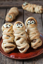 Sausage Meatballs Mummies In Dough Scary Halloween Food