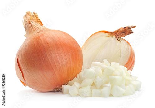 Photo  Onion slice on white