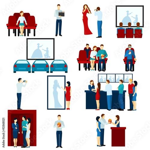 Photo  Cinema movie theater flat icons set