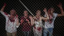 Zombies Hinter Dem Zaun Gefangen