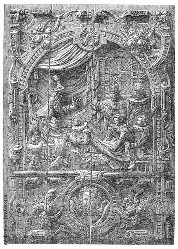 Low relief of a French chest of the sixteenth century. Coronatio #92868439
