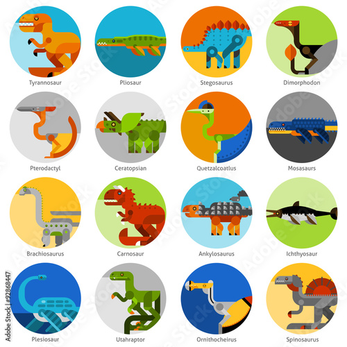 Photo  Dinosaur Icons Set