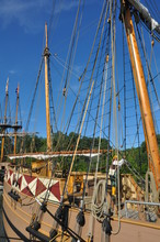 Replica Of Colonial-era Ships At The Jamestown Settlement In Virginia
