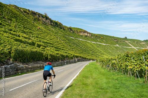 Fotobehang Fietsen Radfahren im Neckartal bei Mundelsheim