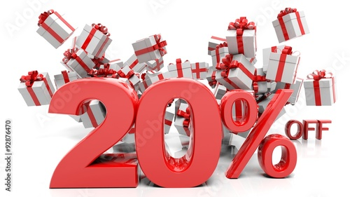 Fotografia  20% 3D numbers with bunch of gift boxes,isolated on white background