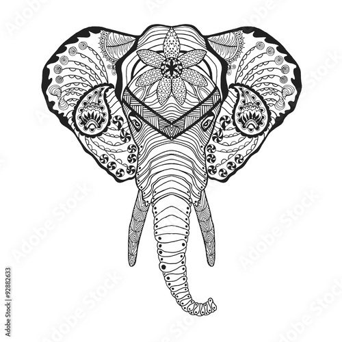 Printed kitchen splashbacks Watercolor skull Zentangle stylized elphant head. Sketch for tattoo or t-shirt.