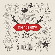 Christmas Hand Drawing Elements For Design. Vector Illustration