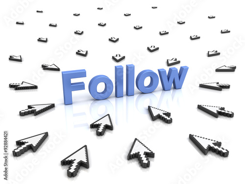 Follow concept many arrow cursors mouse clicking follow